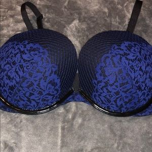 Navy with Black Leather Limited Edition VS Bra 38D